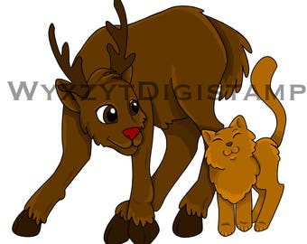 Colored christmas reindeer and cat Digistamp