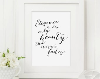Audrey Hepburn Quote Print - Elegance Quote Print - Typography Print - Audrey Hepburn Print - Monochrome Print - Gift For Her - Quote Print