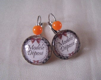 SALE earrings cabochon 20mm orange model deposited