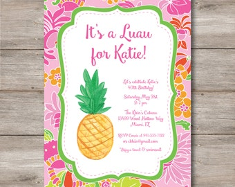 Luau Invitation with Editable Text to Print at Home, DIY Luau Party Invite, Instant Download!