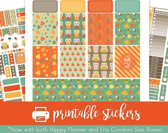 Printable Planner Stickers Autumn Owls Weekly Kit!  August/September/October/November! for use with Erin Condren and Happy Planner!