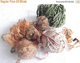CLEARANCE - Peach green mix yarn, great for fringe and accents, 5 ounces
