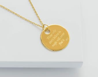 Roald Dahl personalised pendant,quote necklace, silver or gold, inspirational pendant, round pendant, women's necklace. FREE SHIPPING