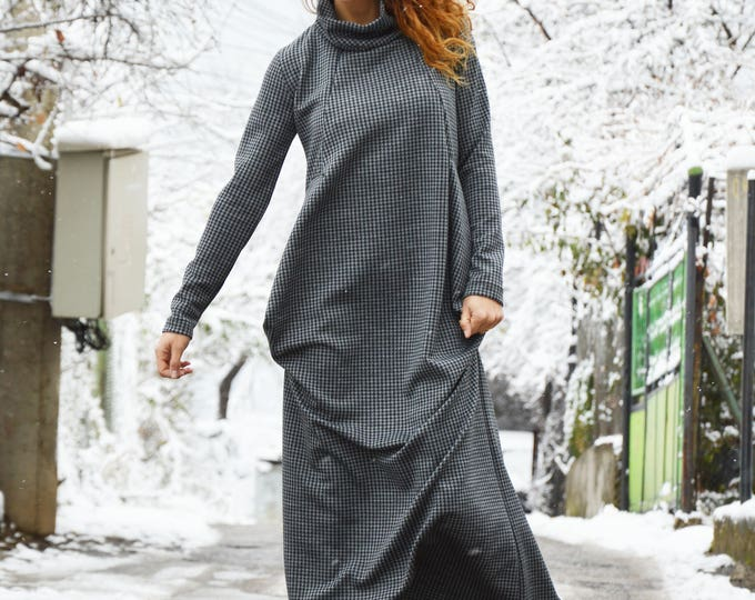 Shepherd's Plaid Turtle Neck Long Dress, Plus Size Maxi Dress, Warm Asymmetrical Dress, Handmade by SSDfashion