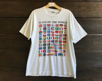 Vintage 80s Flags of the World Tee