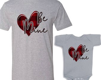Be Mine Valentine Buffalo Plaid Heart Daddy and Me White Shirts Set
