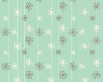 By The HALF YARD  - Good Natured by Maren Sutton for Riley Blake, #C4084 - Mint, Dandelions in Gray and White on a Mint Blue White Striped