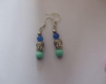 Earrings Pearl blue with a Buddha head silver