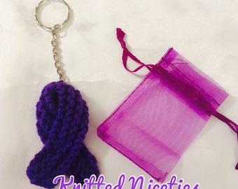 Keyring, Pin Brooch, Bag Charm, Hand Knitted, Purple Ribbon, Crohn's Awareness, Charity Donation, Made to Order, FREE SHIPPING
