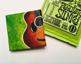 Guitar Tiny Acrylic Painting   Canvas Wall Art   Lime Green   Guitar Music Lover   Bookshelf display   Gift Idea