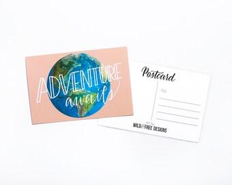 4x6 Postcard Adventure Awaits Globe Moms, Dads and Grads Print Hand Lettering Travel Peach Postcard set