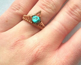 Bohochic wire ring, adjustable copper bohemian ring, turqoise stone ring, nature jewelry
