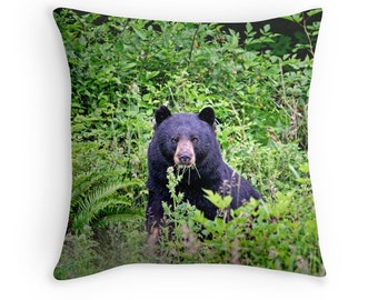 Bear Pillow, Bear Cushion, Bear Decor, Animal Pillow, Animal Decor, Wildlife Decor, Black Bear,Woodland Pillow,Woodland Decor,Forest Animals