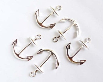 5 Silver Plated Anchor Charms - 20-A-7