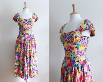Vintage 1980s Ruched Cap Sleeve Bright Floral Midi Dress