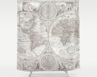 Shower Curtain - World Map - Minimalist soft Grey gray antique Map - Home Decor travel decor  - Industrial chic - soft colors - Bathroom