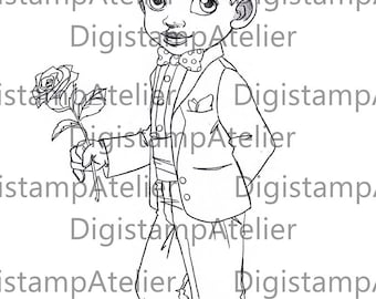Page Boy. INSTANT DOWNLOAD Digital Digi Stamps.
