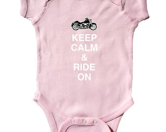 Keep Calm & Ride On Infant Creeper by Inktastic