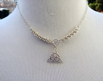 925 Sterling Silver Discreet Symbolic Day Collar Necklace with Celtic Triquetra, BDSM Submissive Slave Collar, DDLG