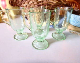 Green Glass Footed Mugs