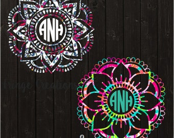 Mandala Lilly Pulitzer Decal / Monogram Decal / Vinyl Decal / Car Decal / Yeti Decal / Laptop Decal / Bridesmaid Gift / Womens