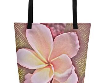 Hawaiian Frangipani Plumeria Pink tropical flower Beach Bag