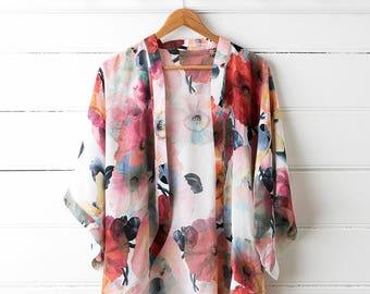 Printed Silk Kimono Top - Poppy