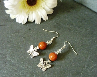 Coral and silver butterfly earrings