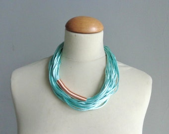 Mint long necklace, Teal turquoise rose gold necklace
