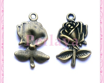 Set of 15 pink bronze charms REF1715X3