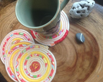 coiled fabric coaster, mug rug, coiled rope coaster