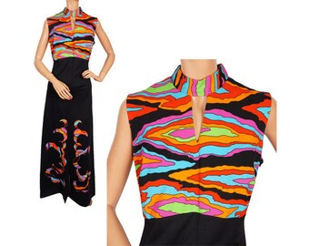 Vintage 1960s Maxi Dress - Psychedelic Print - M