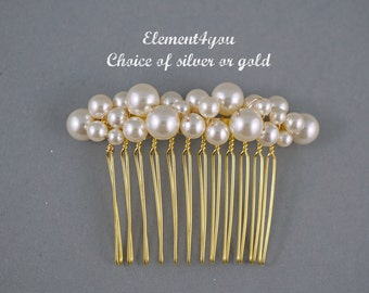 Bridal comb, Pearl comb, Bridesmaid hair comb, Ivory cream white pearls, Cluster pearls, Silver metal comb, Formal hair do Wedding accessory