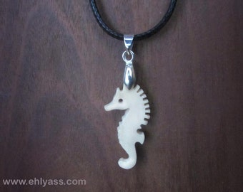 Seahorse handmade ox bone pendant