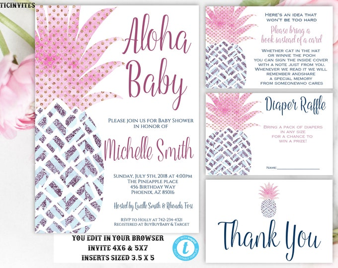Pineapple Baby Shower Invitation, Instant Download, Baby Shower Template Set, Aloha Invitation, Aloha Baby, Editable, Pink, Gold, Blue, DIY
