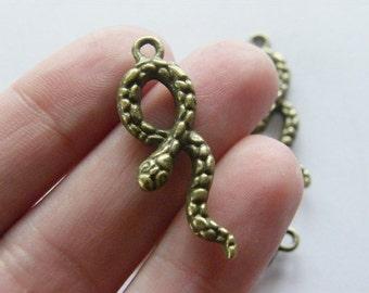 4 Snake pendants antique bronze tone BC40