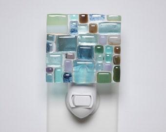 Sea glass mosiac nightlight/ Sea glass nightlight/ Nightlight/ Sea glass/ Unique nightlight/ Ocean/ Beach inspired