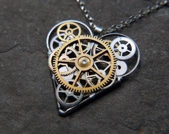 "Elegant Industrial Watch Parts Heart Necklace ""Johansen"" Pendant Clockwork Mechanical Gear Love Gift Wife Girlfriend Birthday Gift"
