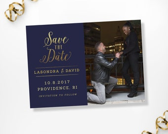 Printable Save the Date, Printable Navy Gold Save the Dates, Navy Gold Dave the Date Cards, Navy Gold Custom Photo Save the Date Cards