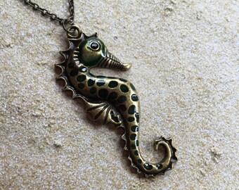 Metal  Seahorse Pendant, Nautical, Ocean Pendant, Pendant, Seahorse, Gift Ideas, Beach, For Her, Trending Items