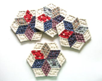 Star Quilted Coasters, Fabric Coasters, Patriotic Decor, Americana, Drink Coasters, Mug Mats  Rustic Home Decor Primitive Country Home Decor