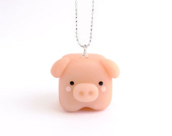 Little cube piggy necklace, little cube piggy earring, squared animal charm, miniature animal, cute animal