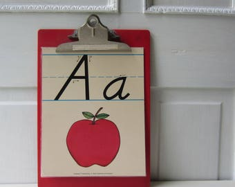 "One Vintage Classroom Letter Poster / Flashcard - Your Choice A - Z Available - Alphabet - Nursery or Playroom Decor 8"" x 10"""