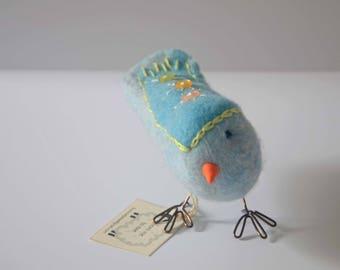 Two-tone Blue Felted Wool Bird