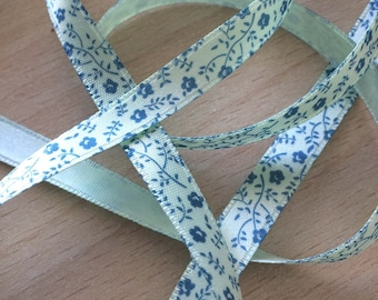 lovely blue floral Mint green satin ribbon