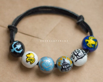 Percy Jackson Bracelet, camp half blood, lightning theif, hand painted beaded bracelet, Percy Jackson Book, Blood of Olympus edition