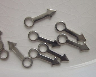 Silver Metal Stampings or Charms, 12mm x 4mm Arrow Shape with Open Ring Top