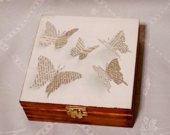wooden box butterfly, jewerly storage,  funky wooden keepsake box chest