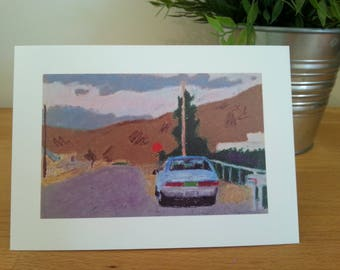 """Blue Car with Mountains card 5""""x7"""""""