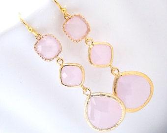 Pink Earrings, Glass Earrings, Gold Earrings, Soft Pink, Light Pink, Long Earrings, Bridesmaid Earrings, Bridal Jewelry, Bridesmaid Gifts